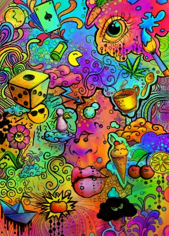 338x470 Psychedelic Random Stuff By Haze (Abstract Drawing)
