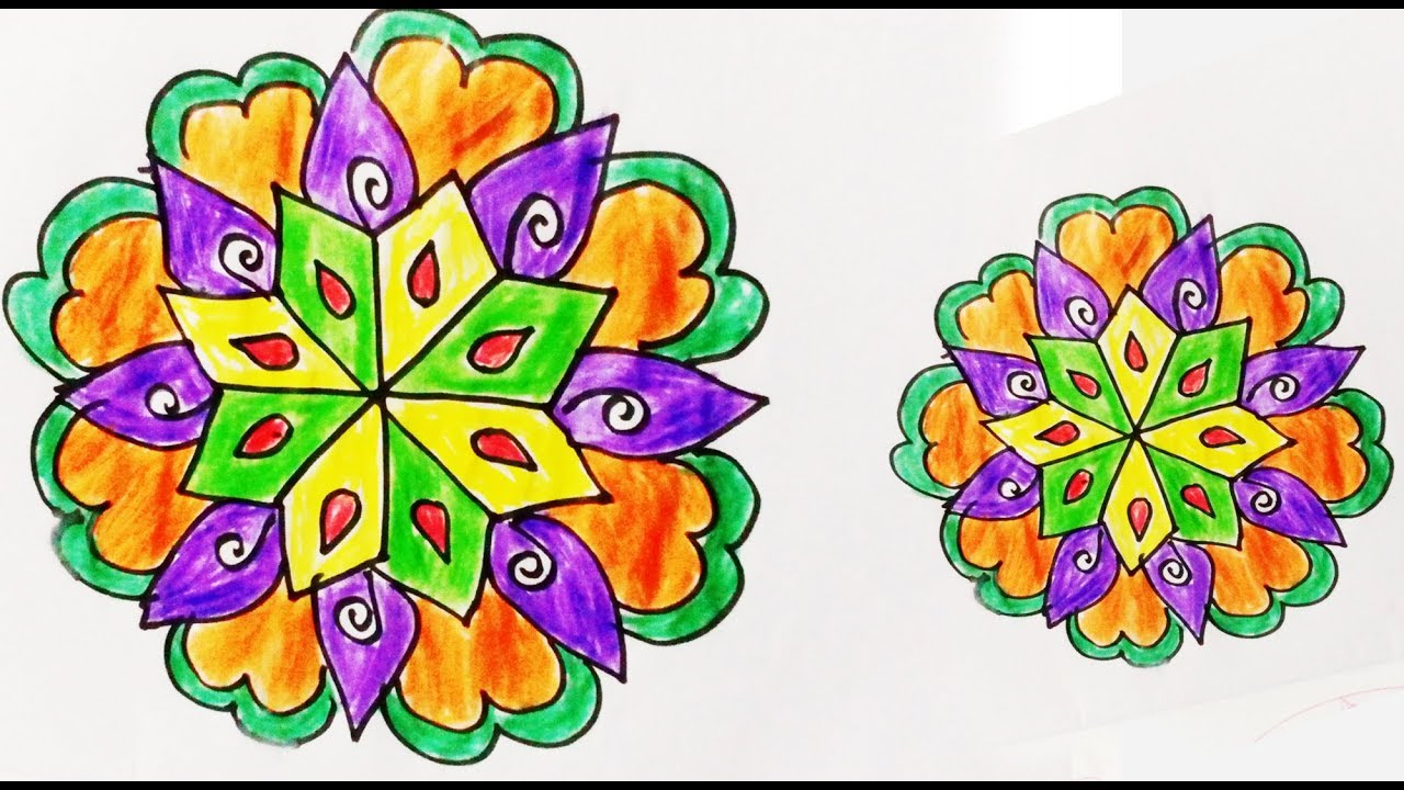 1280x720 How To Draw Rangoli Designs On Paper Very Easy Step By Step