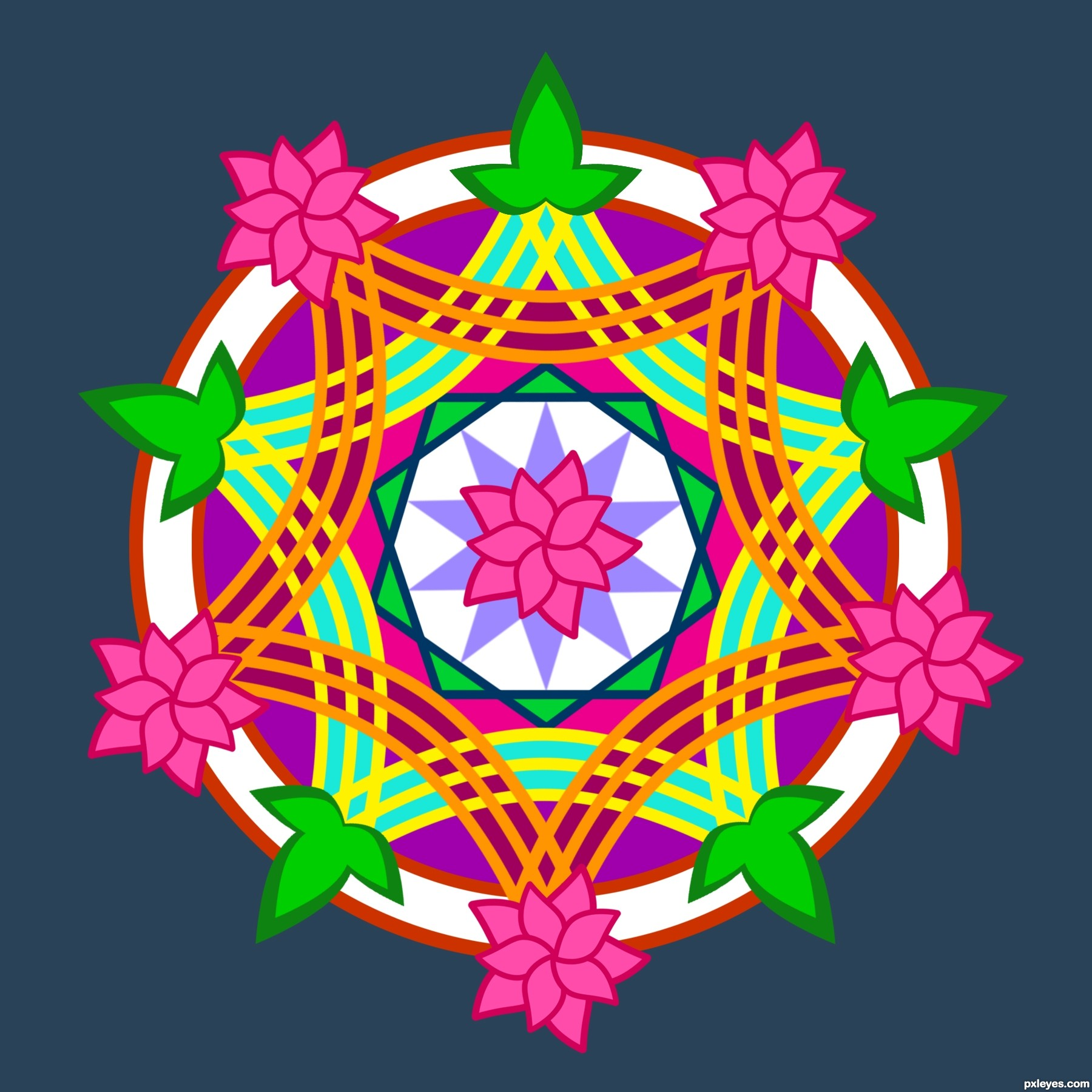 1800x1800 Lotus Picture, By Idt8r For Rangoli Colors Drawing Contest
