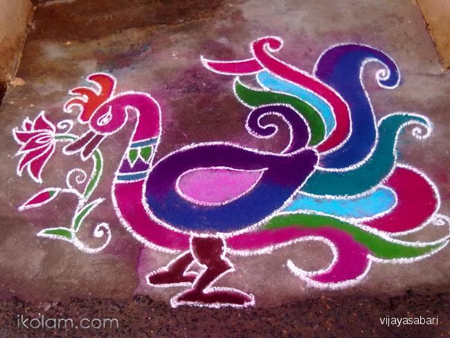 650x488 Rangoli Freehand Drawing Bird