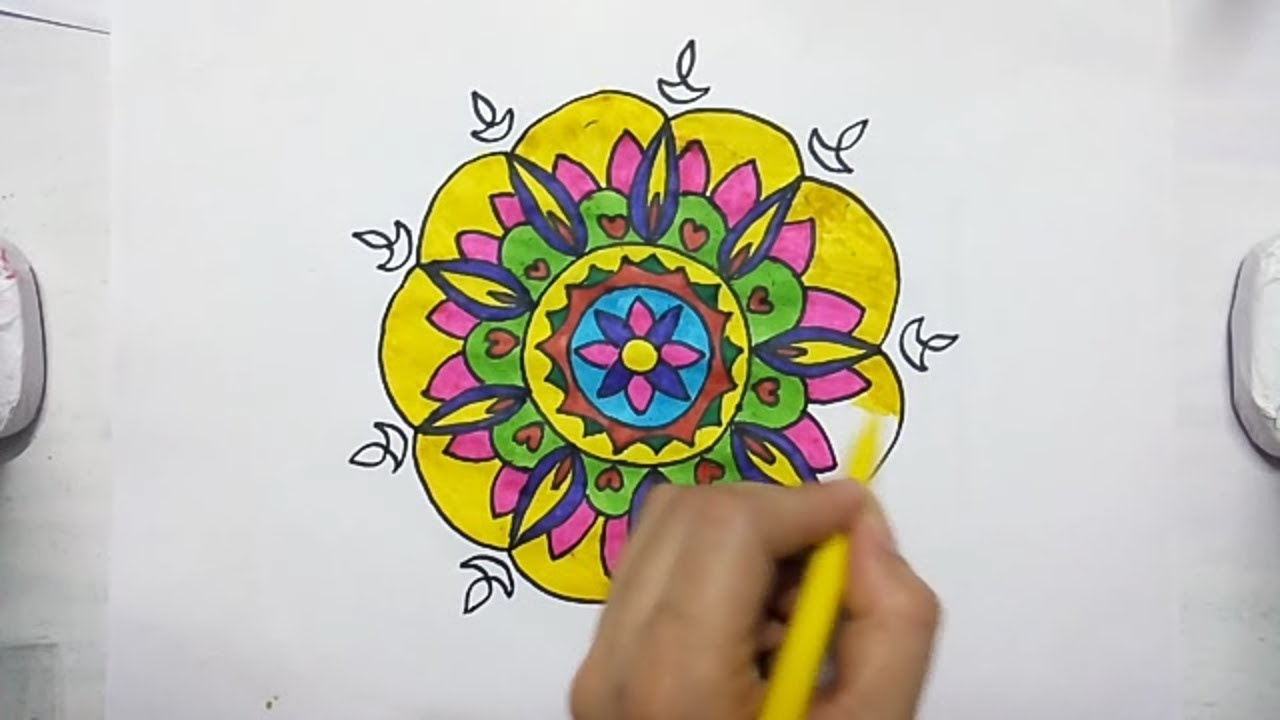 1280x720 Rangoli Drawing For Kids Step By Step Drawing Tutorial