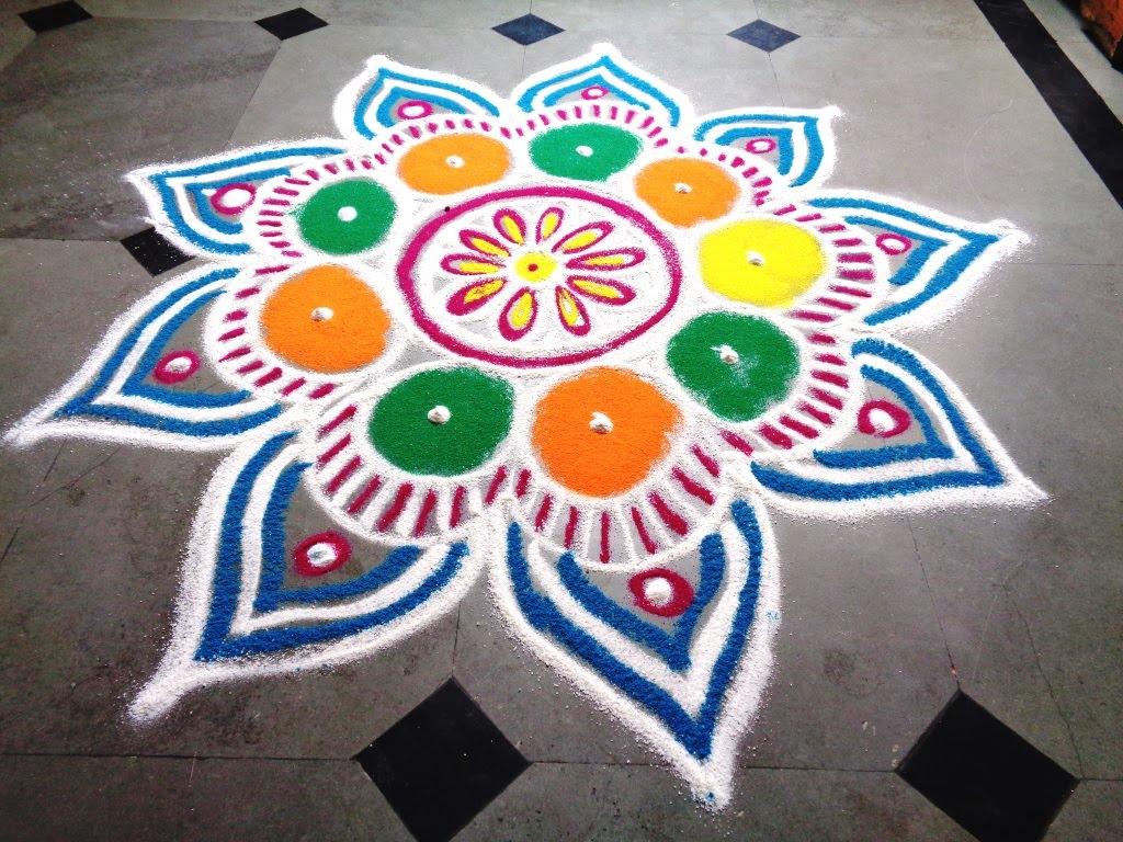 1024x768 How To Draw New Flower Rangoli
