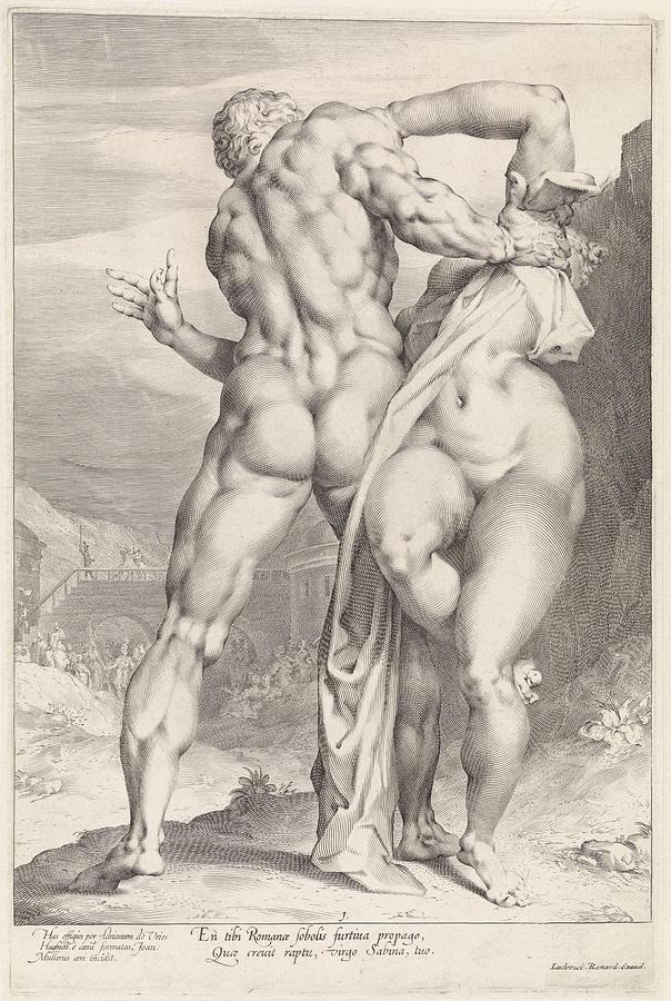 604x900 Rape Of A Sabine Woman, Rear View Drawing By Jan Harmensz. Muller