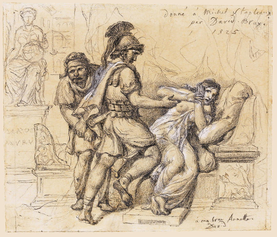 900x769 The Rape Of Lucretia Drawing By Jacques Louis David