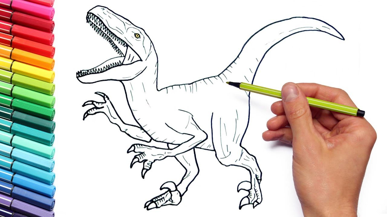 1280x720 Drawing And Coloring Velociraptor Jurassic World