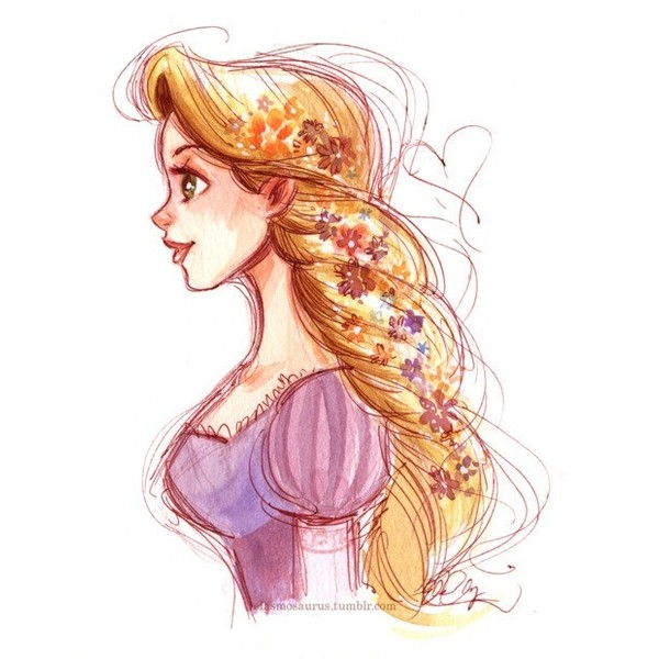 600x600 Rapunzel Fanart Drawing Inspiration Liked On Polyvore Featuring
