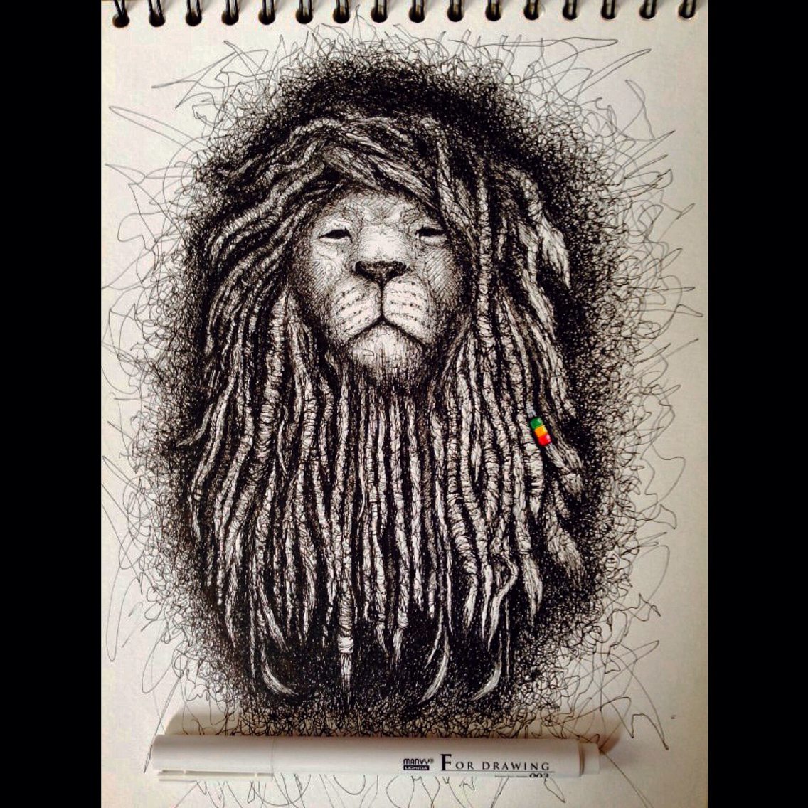 1136x1136 Rasta Lion. Drawing Pen. My Art Collection Lion