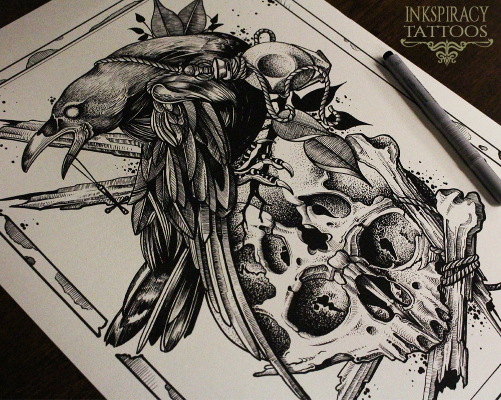 Raven Tattoo Drawing At Getdrawings Free For Personal Use
