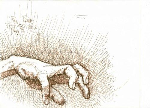 500x360 Drawing Reaching Hand (Original Art By Floyd Alsbach, Stuckist