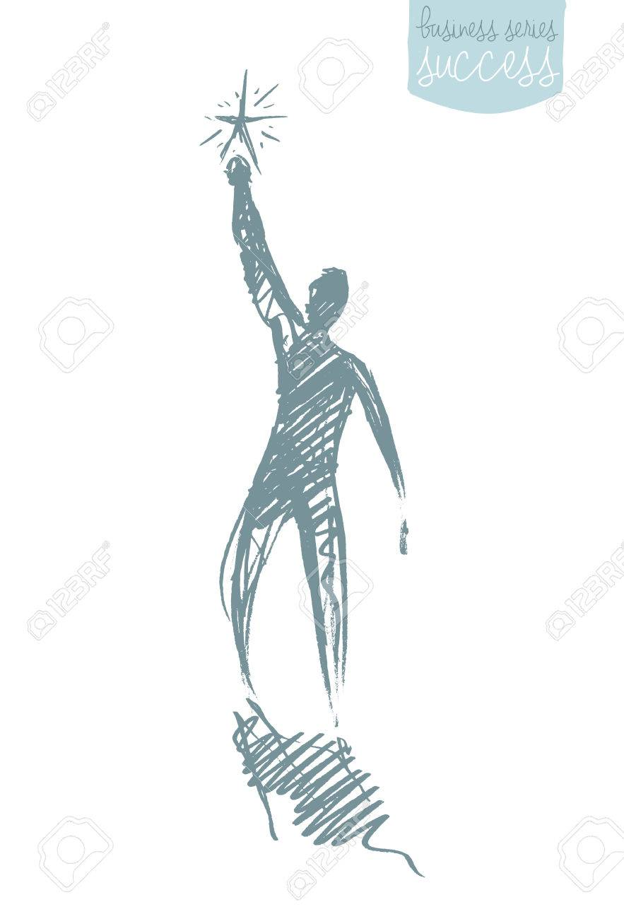 883x1300 Hand Drawn Vector Illustration Of A Person, Reaching Star