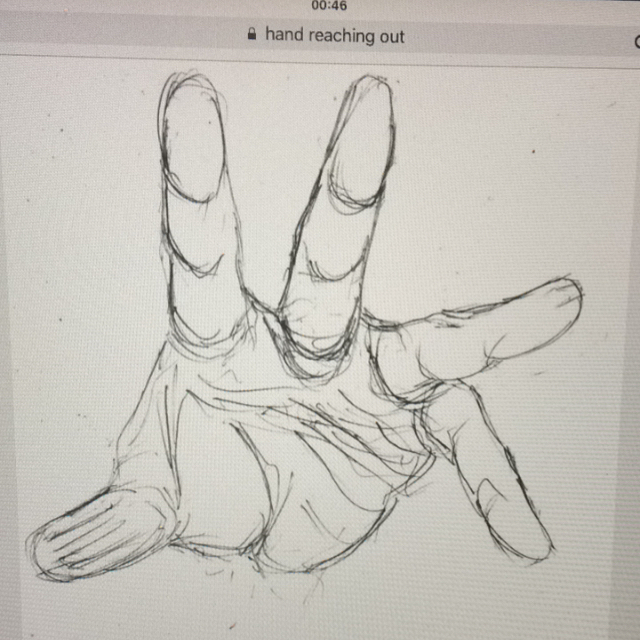how to draw a hand reaching out step by step