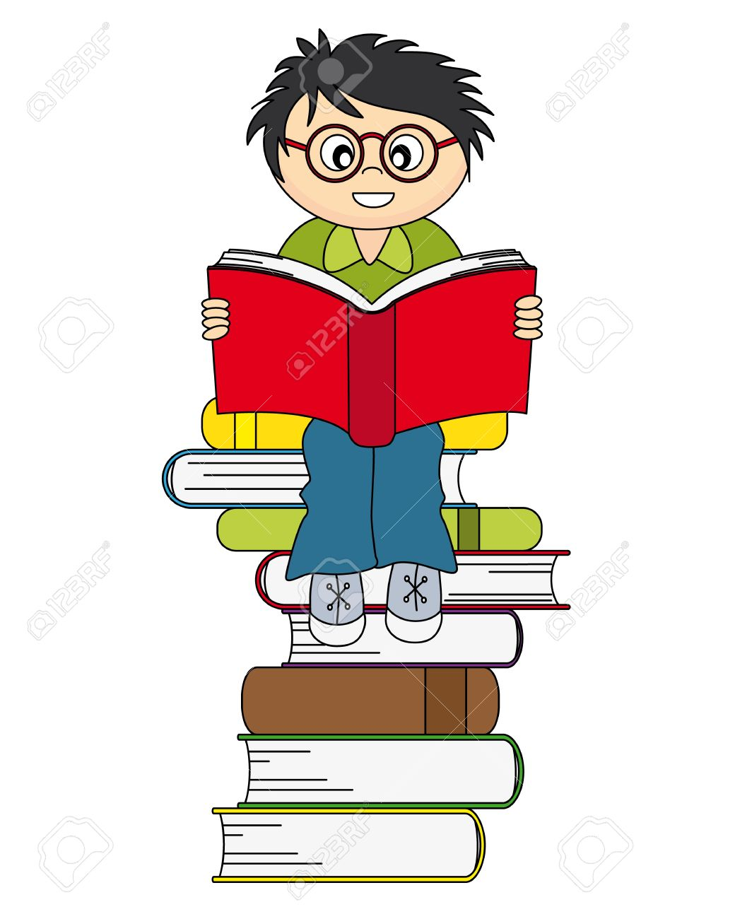1040x1300 Boy Reading A Book. Drawing Isolated White Background Royalty Free