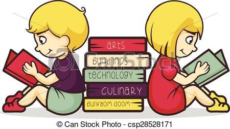 450x254 Children Reading Books, Vector Illustration Vectors Illustration