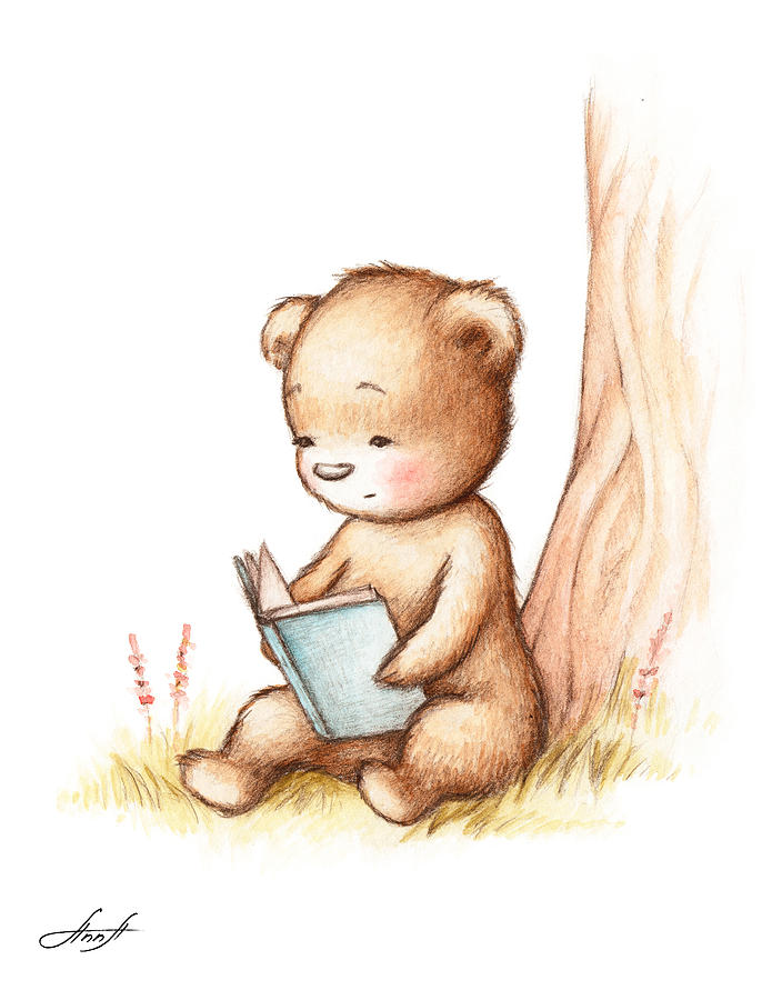695x900 Drawing Of Teddy Bear Reading A Book Under Tree Painting By Anna