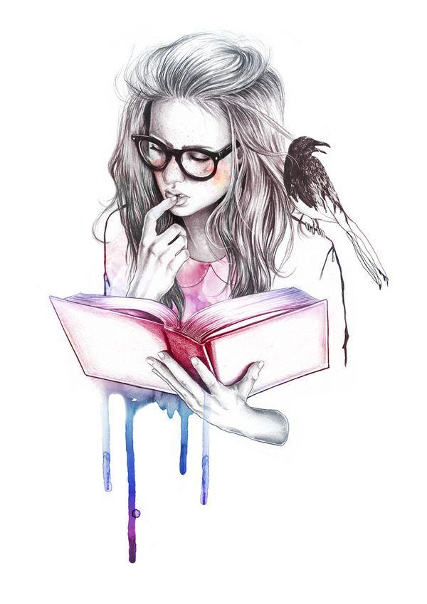 600x849 Girl Reading Book Drawing Books.books.lt3.books.