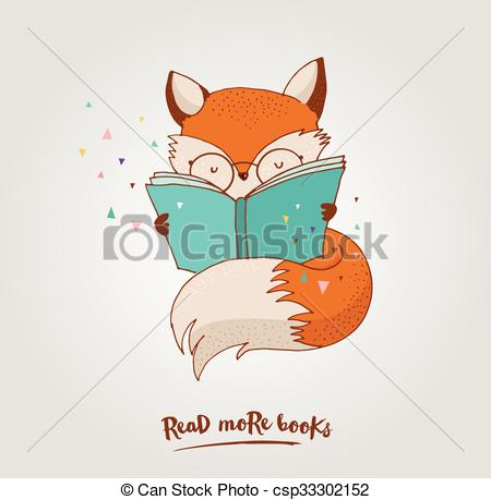 450x459 Smart Fox, Reading Book, Greetin Card. Smart Fox Reading