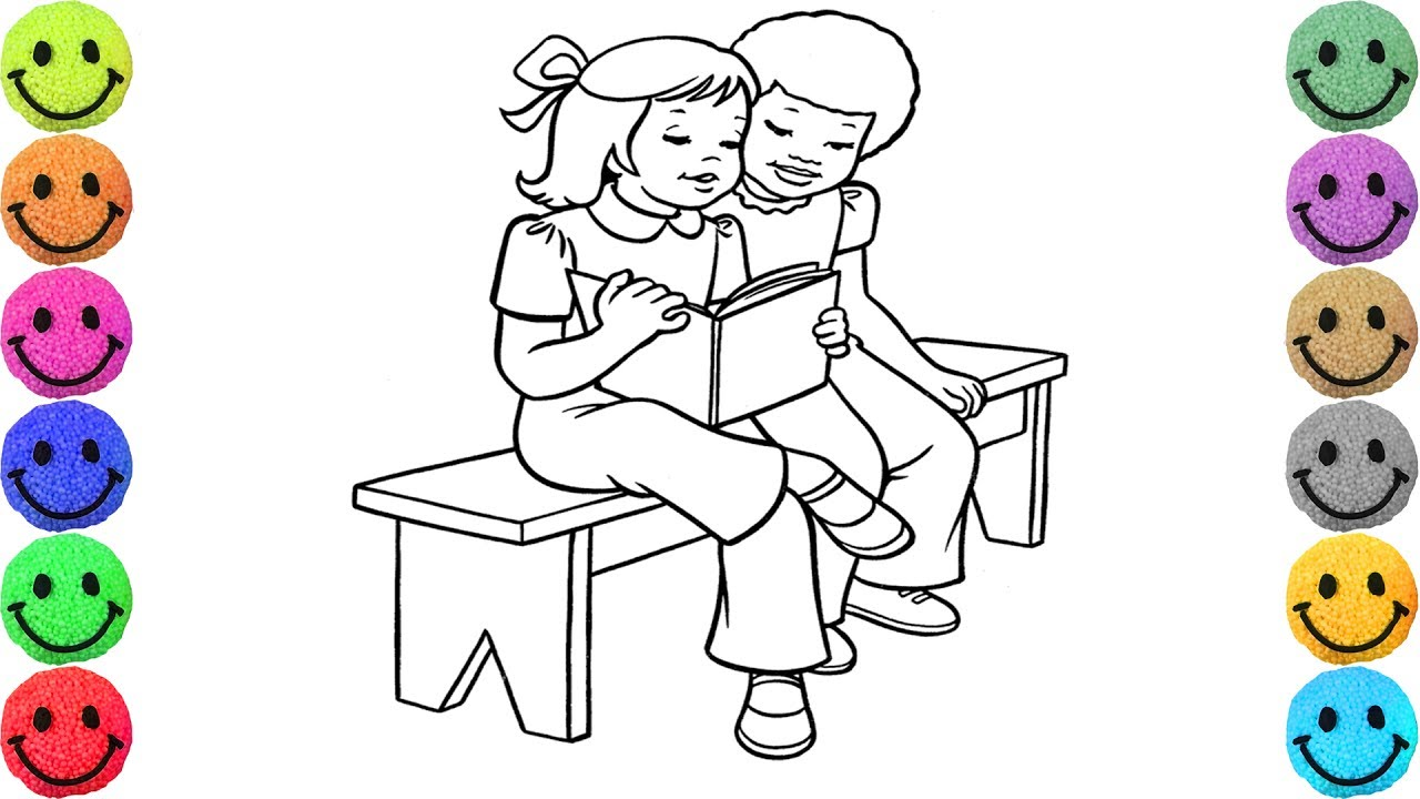 1280x720 Two Friends Reading Book Coloring Pages