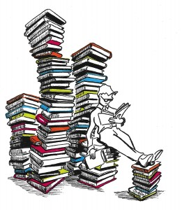 261x300 Person Reading Lots Of Books In Piles Drawing Symatt
