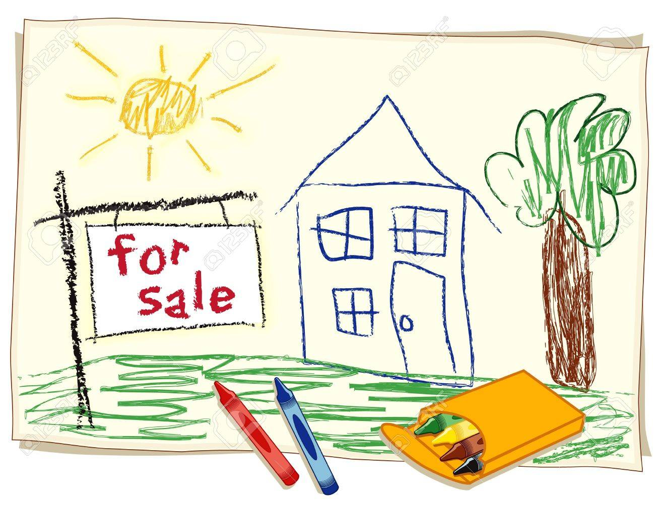 1300x1004 For Sale Real Estate Sign, Child S Crayon Drawing, House In Sunny