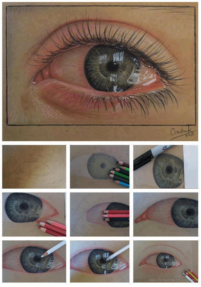 674x960 How To Draw A Real Eye ) Art Eye, Colored Pencils