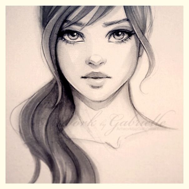605x605 girl face illustration