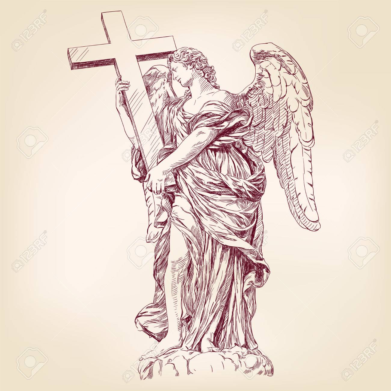 1300x1300 Angel Holding A Cross Hand Drawn Vector Llustration Realistic