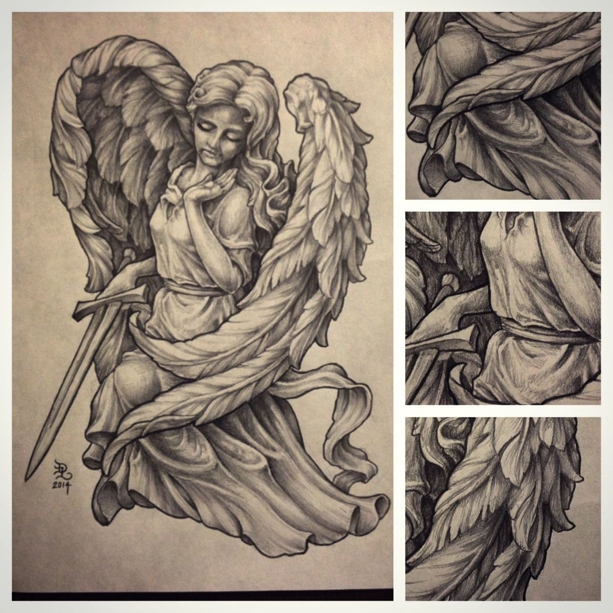 1200x1200 Pencil Drawing Of An Angel Statue
