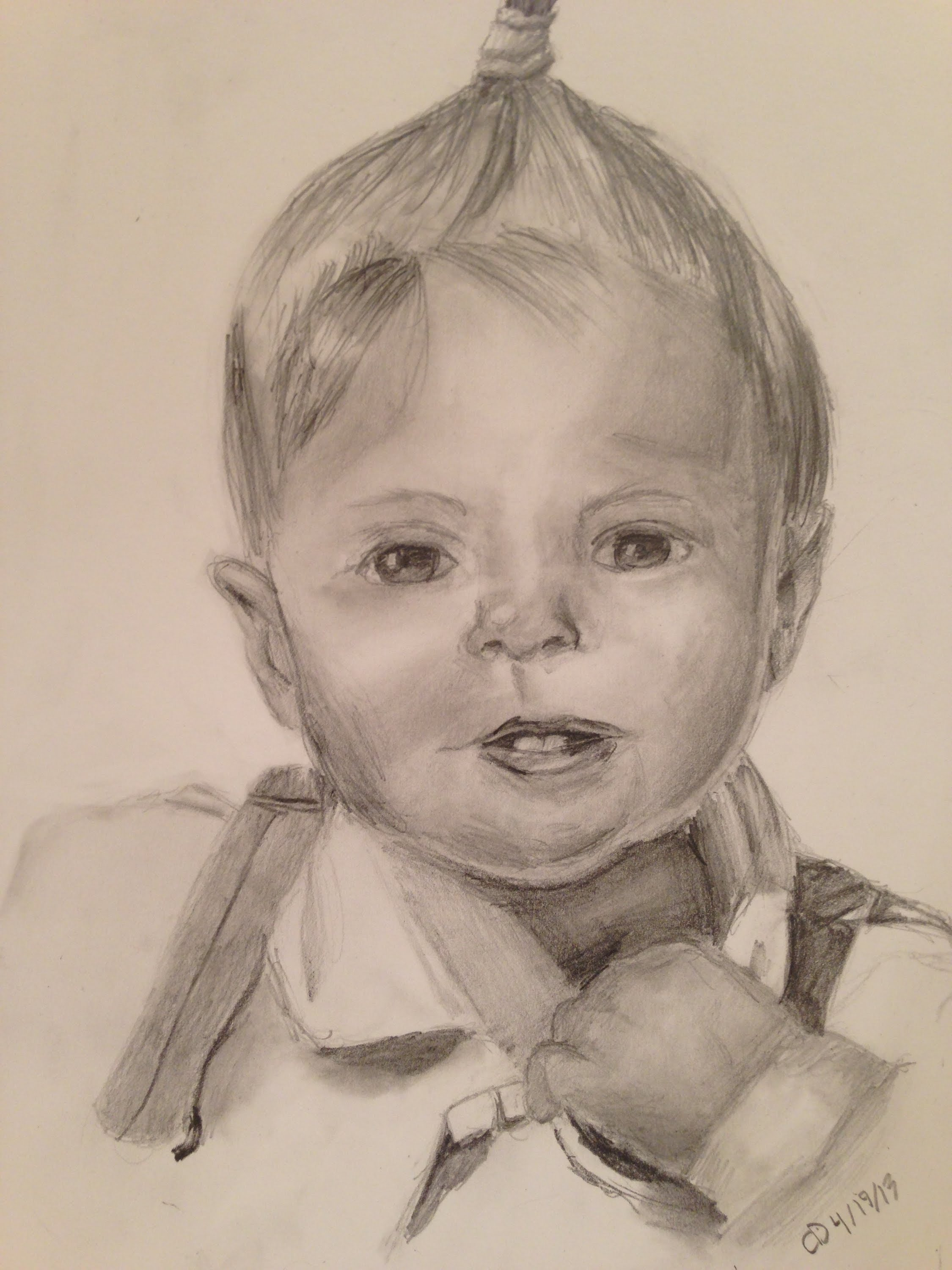 2250x3000 Realistic Baby Portrait Drawing