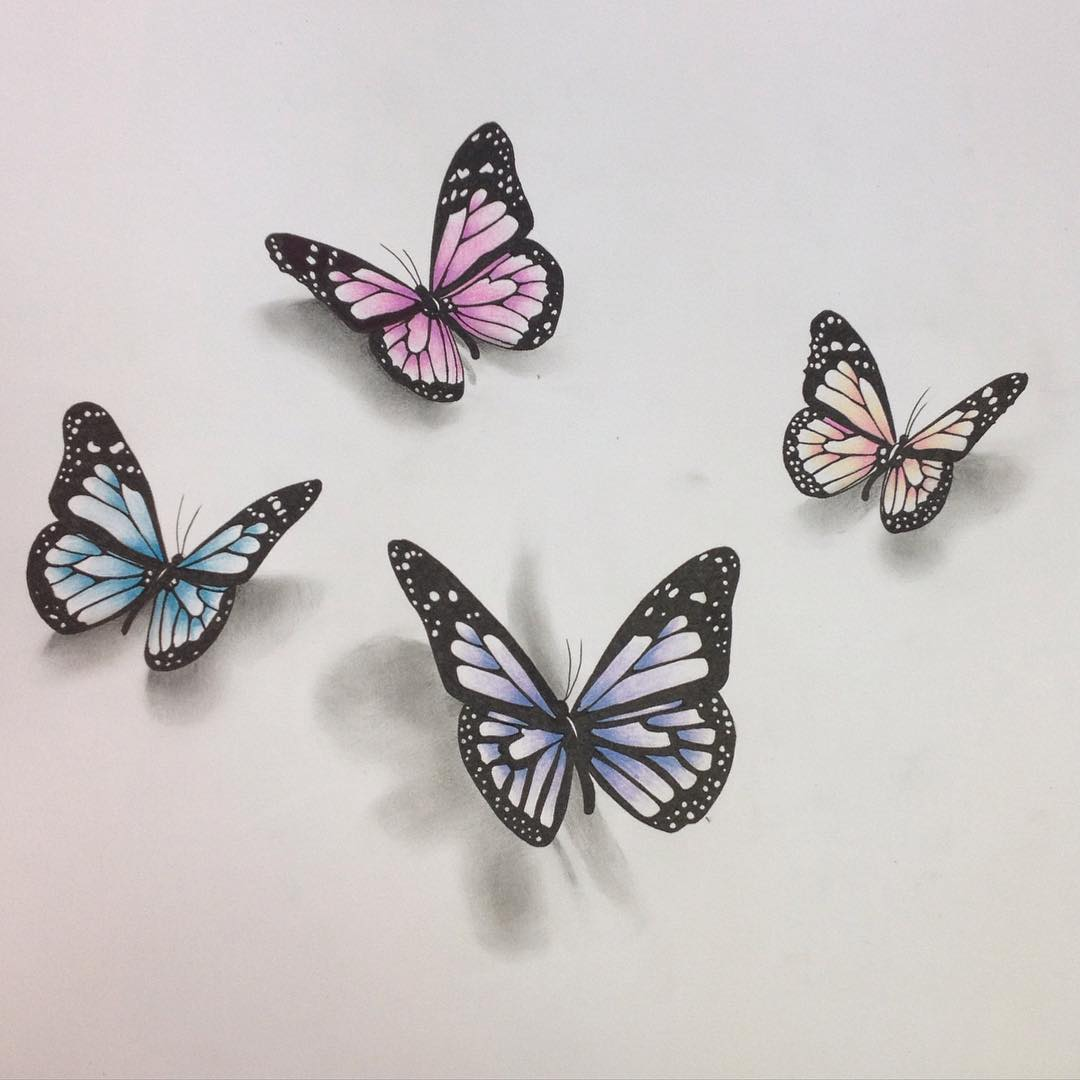 Draw 3d Online Realistic Butterfly Drawing At Getdrawings Com Free For