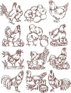 236x310 Realistic Bluework Roosters Amp Hens 02 Embroidery