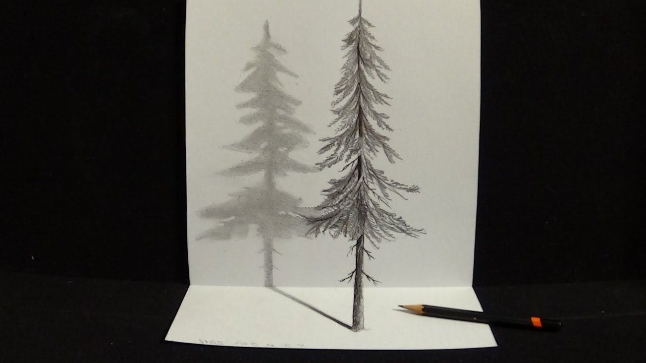 1280x720 Pictures Of A Tree Drawn With Pencil In 3d How To Draw A Realistic