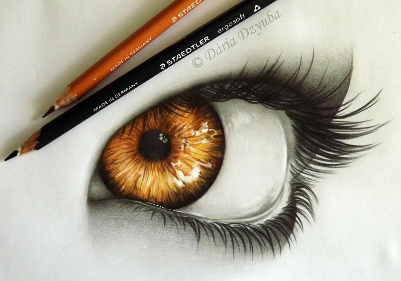 806x564 60 Beautiful And Realistic Pencil Drawings Of Eyes Golden Eyes