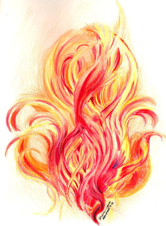 660x900 Fire Drawing By Sharon Blanchard
