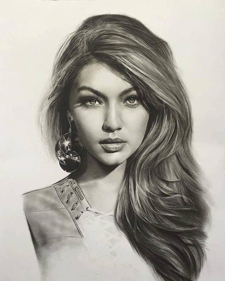 750x937 gigi hadid drawing art gallery pinterest drawings portraits