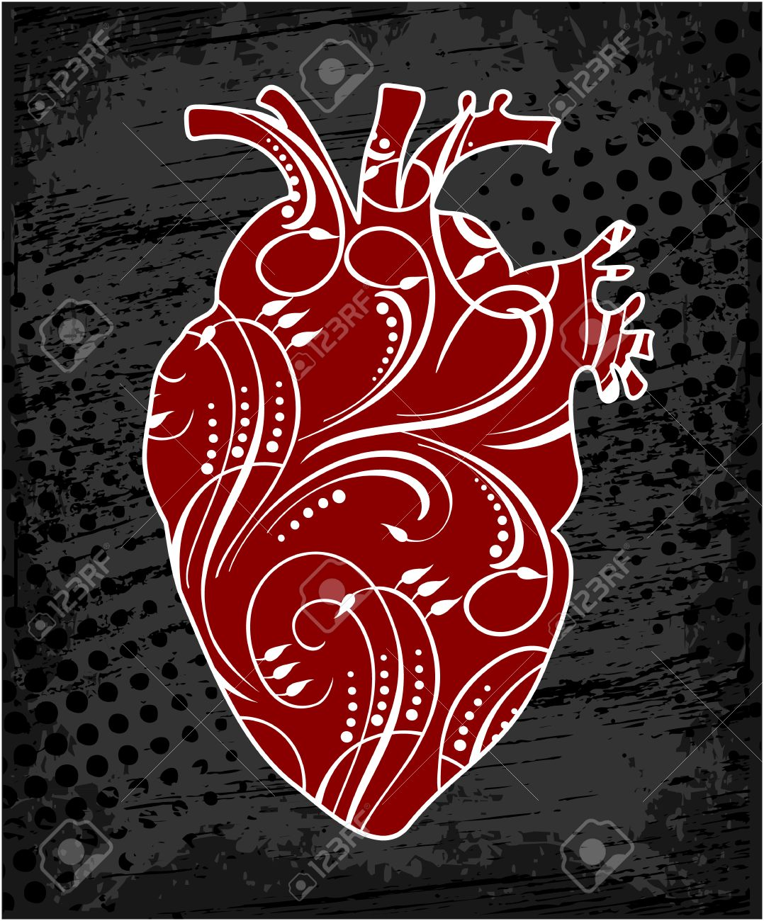1078x1300 Anatomical Human Heart, Drawing In Cartoon Style. Realistic Red
