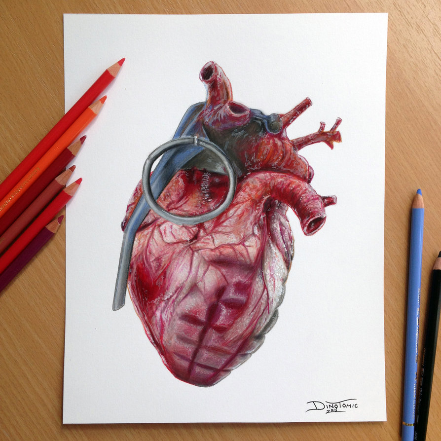 894x894 Grenade Heart Pencil Drawing Here Is The Finished Drawing That Was