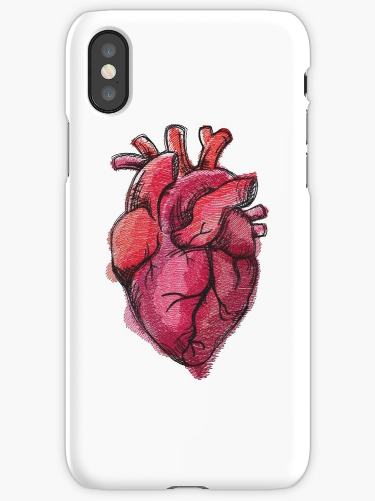 750x1000 Realistic Heart Drawing Iphone Cases Amp Skins By Decentart Redbubble