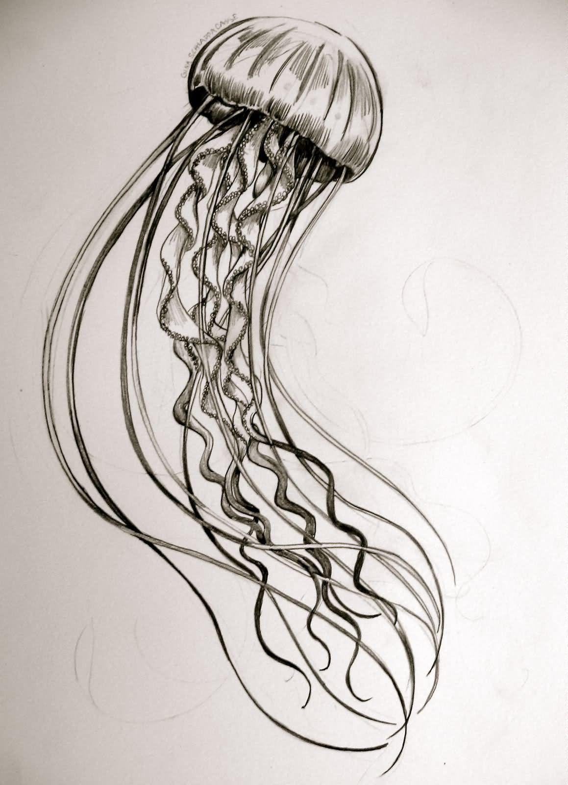 1159x1600 Jellyfish Tattoo Design Idea Long Arm Quilt Designs