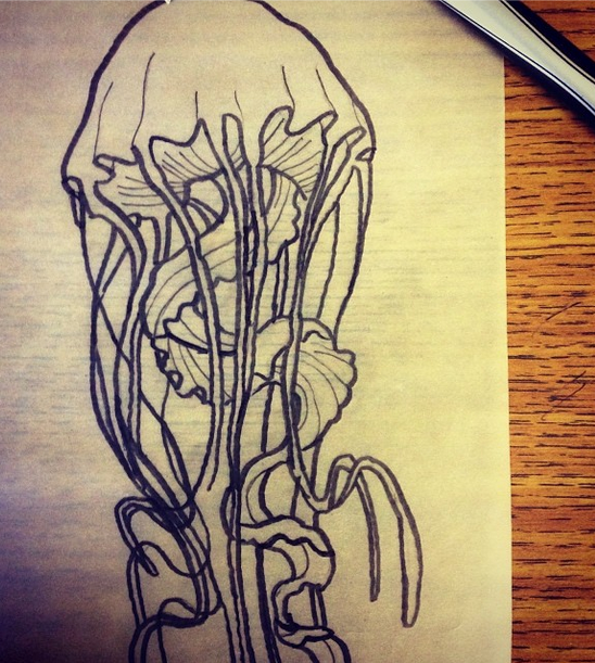 548x611 Jellyfish Tattoo Lines By Drawing Pictures Tattoo Ideas