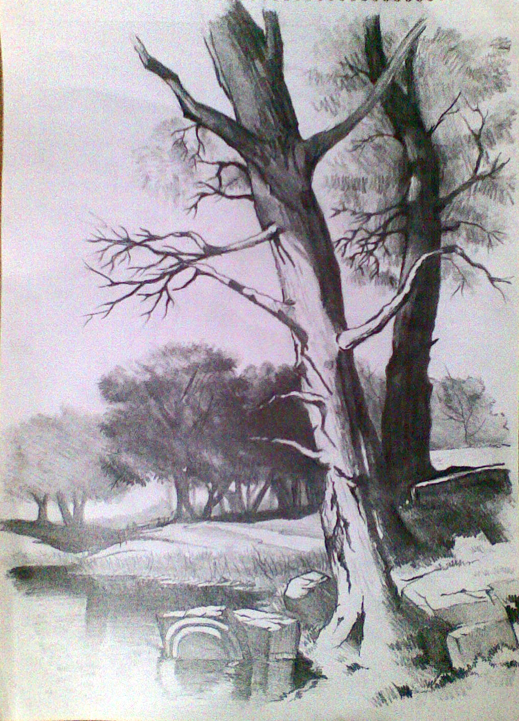 pencil scenery sketch drawing landscape nature sketches realistic 3d scene getdrawings paintingvalley