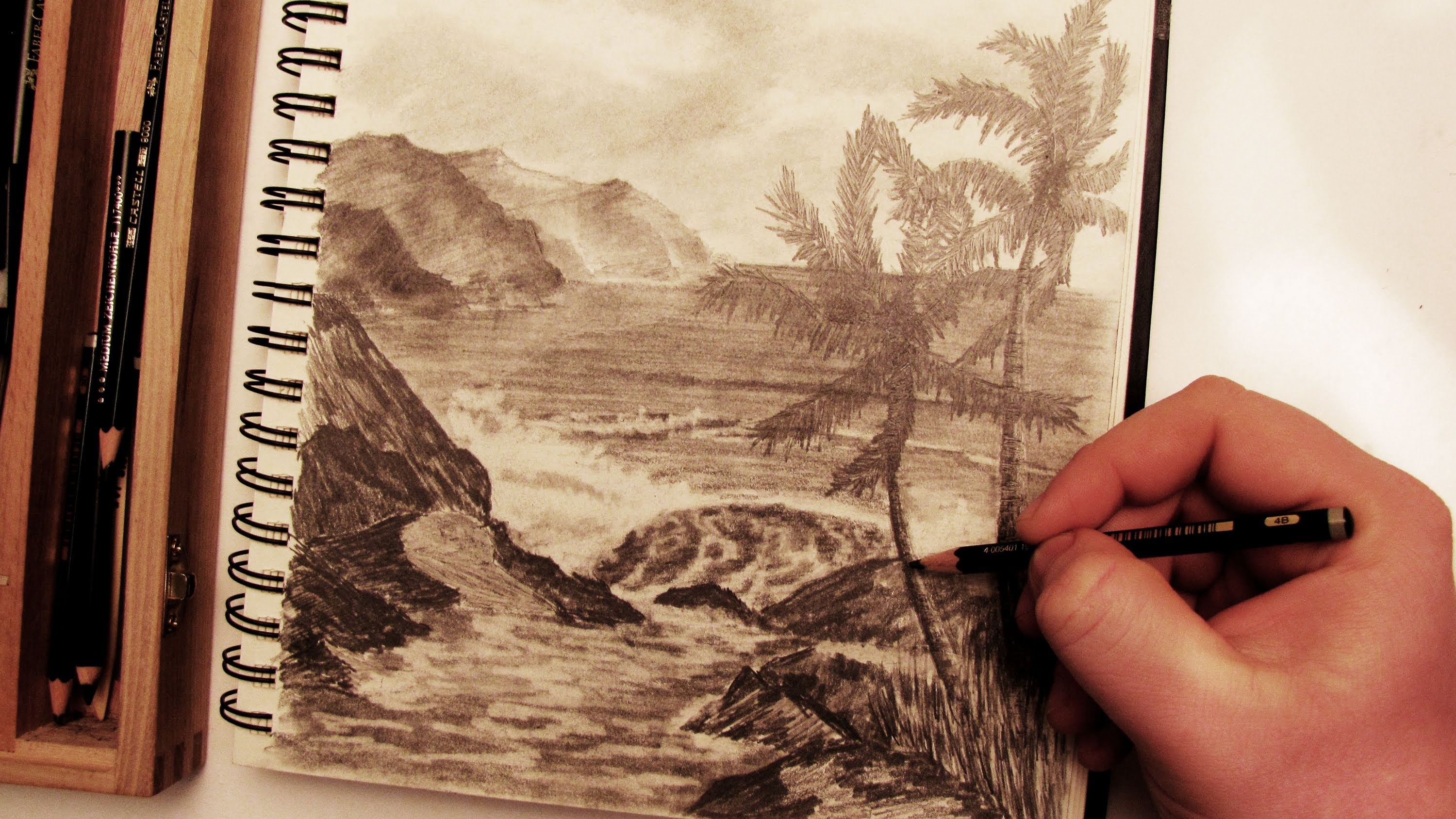 3000x1688 How To Draw A Realistic Palm Tree Beach Landscape In Pencil