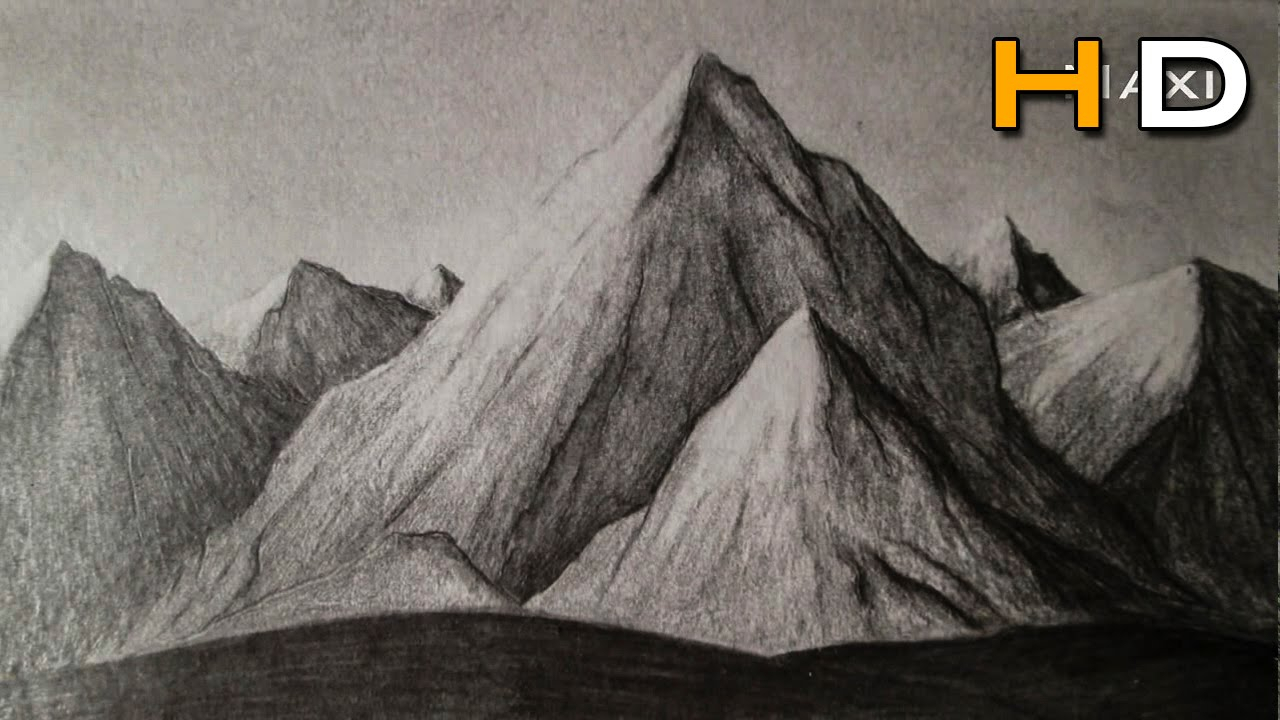 1280x720 Realistic Mountain Landscape Drawing How To Draw Mountains Whith