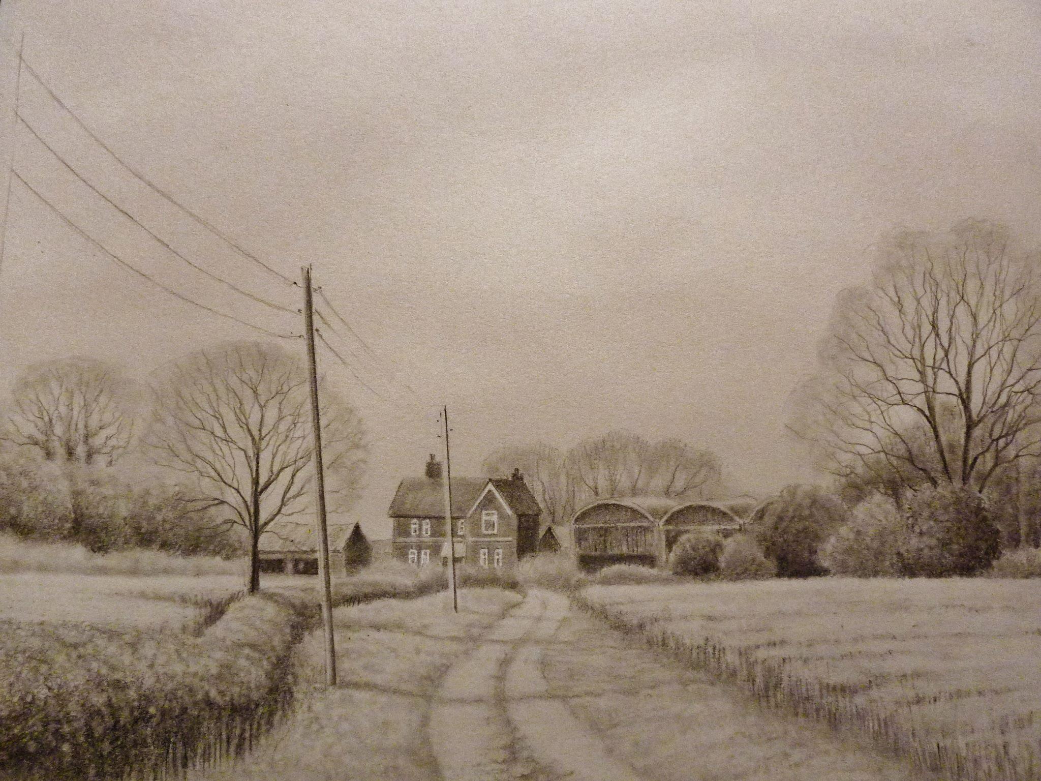 2048x1536 Time Lapse Landscape Pencil Drawing, Farm Buildings