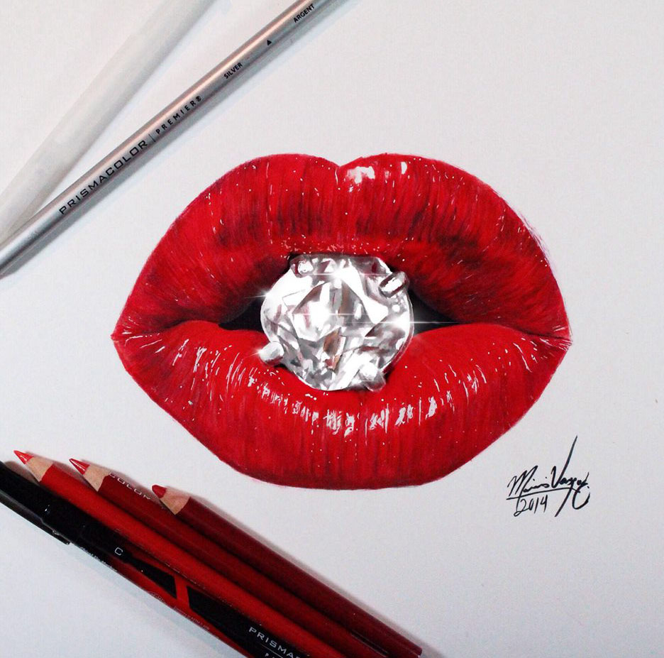 936x927 Realistic Lips Color Pencil Drawing Image