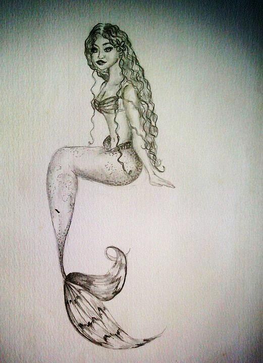 521x720 Hawaiian Mermaid Drawing By Kammy Hodges Mermaids