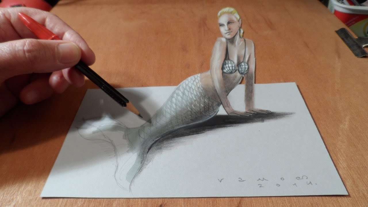 1280x720 How To Draw A 3d Mermaid