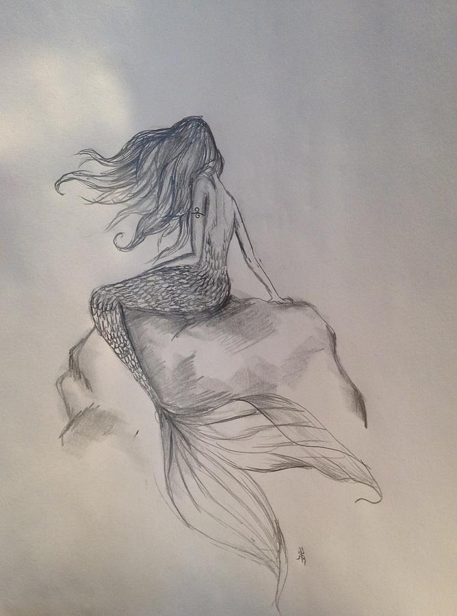 668x900 Lonely Mermaid Drawing By Shelby Rawlusyk