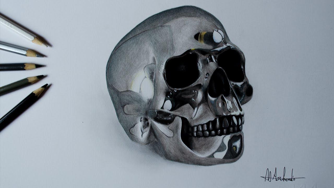 1280x720 Drawing A Realistic Silver Skull