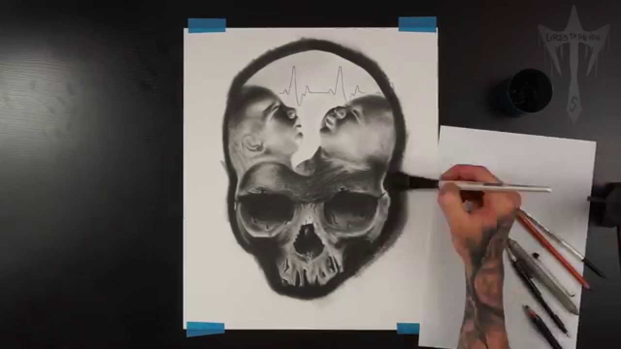 1280x720 Realistic Skull Drawing Charcoal Horror Surrealism Trapped Time