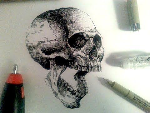 480x360 Sakura Pigma Drawing Pens Demo Drawing A Realistic Skull